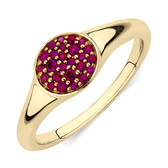 Pave Ring with Created Ruby in 10kt Yellow Gold
