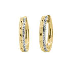 Huggie Earrings with 0.17 Carat TW of Diamonds in 10ct Yellow Gold