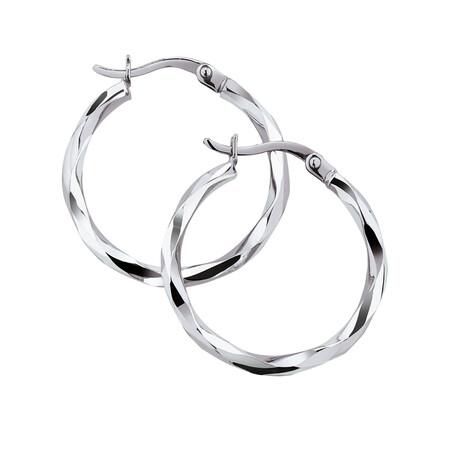 18mm Twist Hoop Earrings in 10kt White Gold