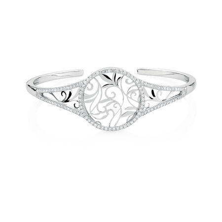 Filigree Cuff with Cubic Zirconia in Sterling Silver