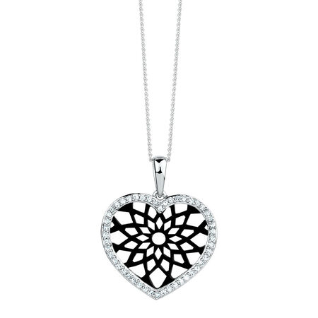 Heart Pendant with 0.20 Carat TW of Diamonds in 10kt White Gold