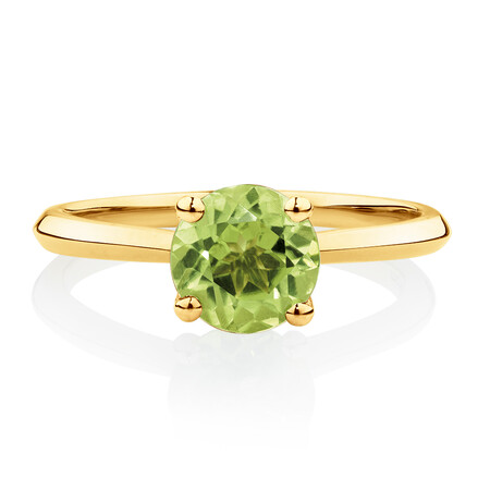 Ring with Peridot in 10kt Yellow Gold