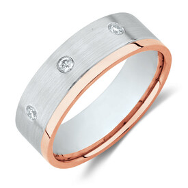 Men's Ring with Diamonds in 10ct White & Rose Gold