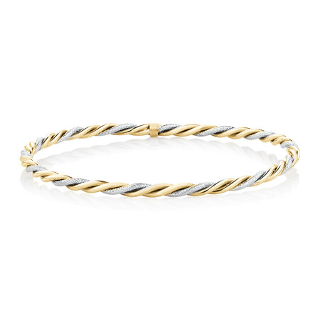 Twist Bangle in 10kt Yellow & White Gold