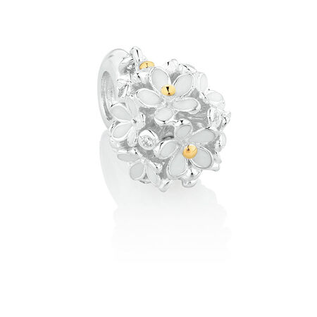 Daisy Dangle Charm with Cubic Zirconia & White Enamel in Sterling Silver & 10kt Yellow Gold