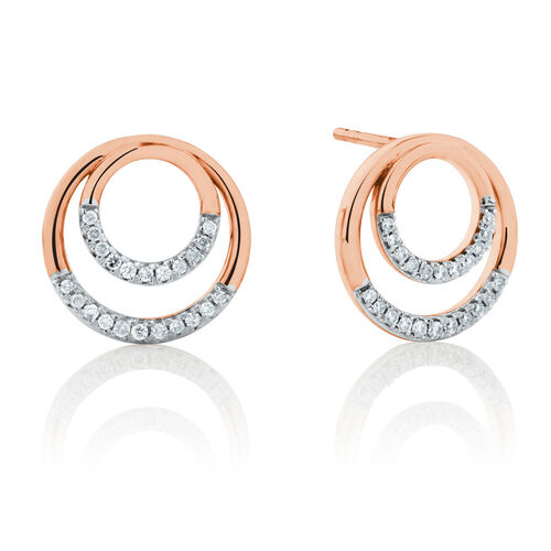 Double Circle Stud Earrings With 0.17 Carat TW of Diamonds in 10kt Rose Gold