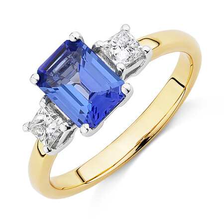 Three Stone Ring with Tanzanite & 0.40 Carat TW of Diamonds in 10kt Yellow & White Gold