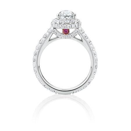 Michael Hill Designer GrandAllegro Engagement Ring with 2.08 Carat TW of Diamonds in 14kt White & Rose Gold