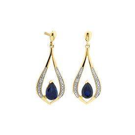 Stud Earrings with Created Sapphire & Diamonds in 10kt Yellow Gold