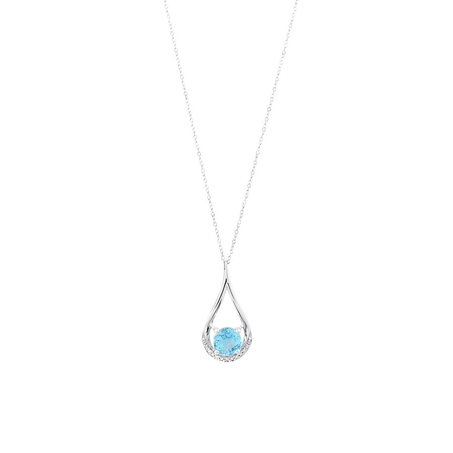 Drop Pendant With  Blue Topaz & Diamonds In 10kt White Gold