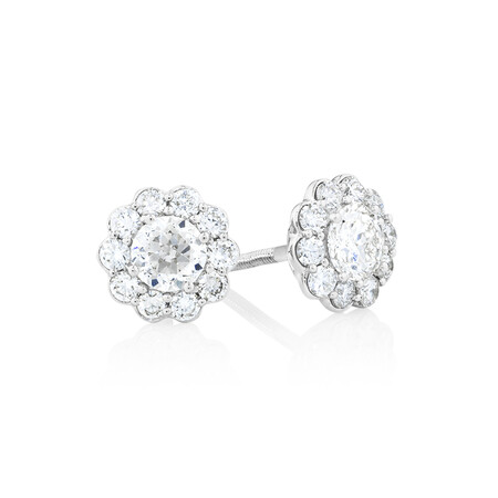 Halo Stud Earrings with 1 Carat TW of Diamonds in 14kt White Gold
