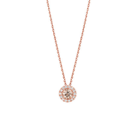 Pendant with Morganite & 1/7 Carat TW of Diamonds in 10kt Rose Gold