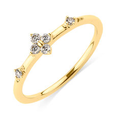 Stacker Ring with Diamonds in 10kt Yellow Gold