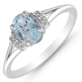 Ring with Aquamarine & Diamond in 10kt White Gold