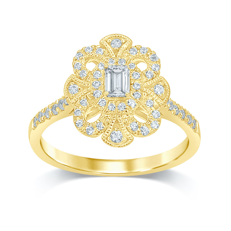 Flower Ring with 0.55 Carat TW of Diamonds in 14kt Yellow Gold