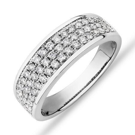 Men's Pave Ring with 0.87 Carat TW of Diamonds in 10kt White Gold