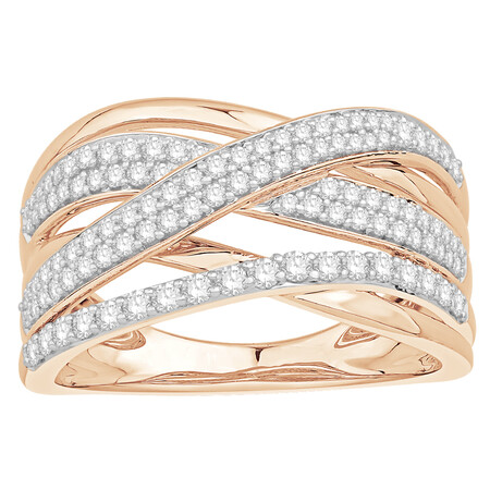 Crossover Ring with 0.60 Carat TW of Diamonds in 10kt Rose Gold