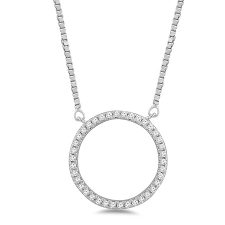 Circle Pendant with 0.10 Carat TW of Diamonds in Sterling Silver