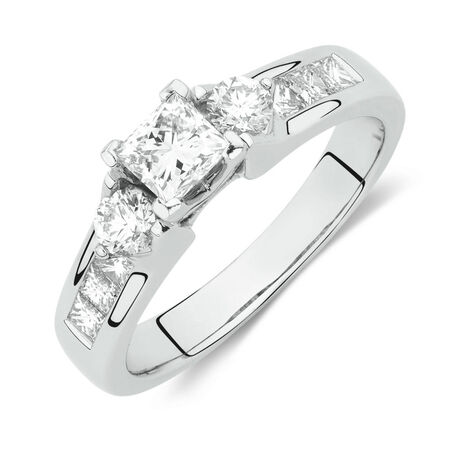 Online Exclusive - Side Accent Ring with 1 Carat TW of Princess Cut and Round Brilliant Diamonds in 18kt White Gold