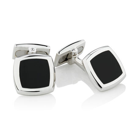 Square Black Agate Cufflinks in Sterling Silver