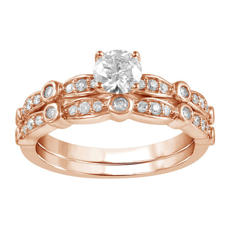 Bridal Set with 3/4 Carat TW of Diamonds in 14kt Rose Gold