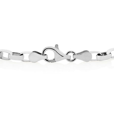 "19cm (7.5"") Diamond Set Rolo Bracelet in Sterling Silver"