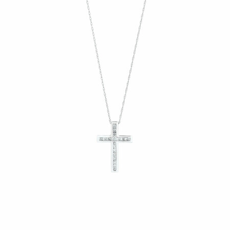 Cross Pendant in 10kt White Gold With 1/4 Carat TW of Diamonds