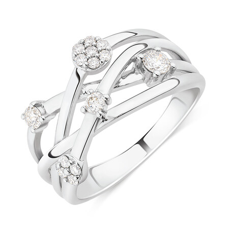 Scatter Ring With 0.34 Carat TW Diamonds In 10kt White Gold