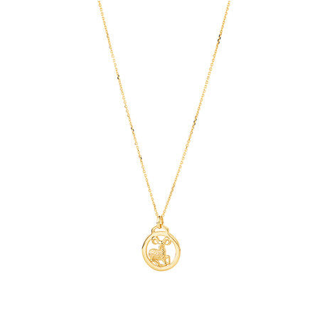 Aries Zodiac Pendant with Chain in 10kt Yellow Gold