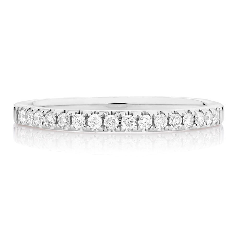 Wedding Band with 0.20 TW of Diamonds in 14kt White Gold