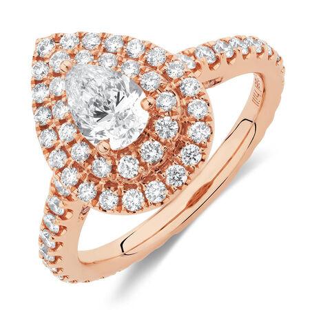Sir Michael Hill Designer GrandArpeggio Engagement Ring with 1.21 Carat TW of Diamonds in 14kt Rose Gold