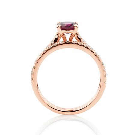 Bridal Set with 5/8 Carat TW of Diamonds & Rhodolite Garnet in 14kt Rose Gold