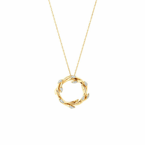 Small Willow Pendant with Diamonds in 10kt Yellow Gold