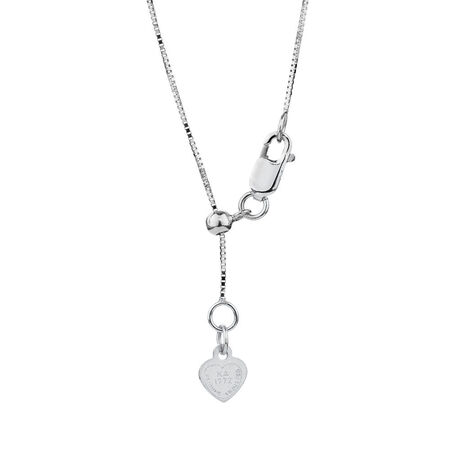 "50cm (20"") Adjustable Box Chain in 10kt White Gold"