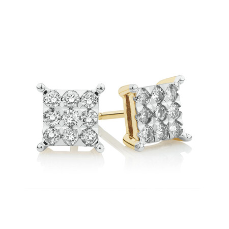 Square Stud Earrings with 1/2 Carat TW of Diamonds in 10kt Yellow Gold