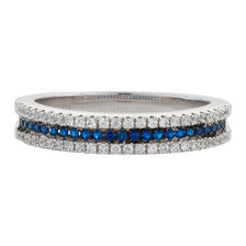 Online Exclusive - Stacker Ring with White & Blue Cubic Zirconia in Sterling Silver