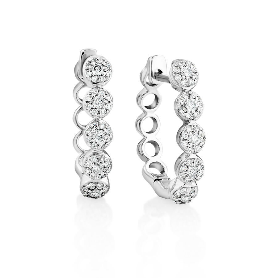 Bubble Huggie Earrings with 0.25 Carat TW of Diamonds in 10kt White Gold