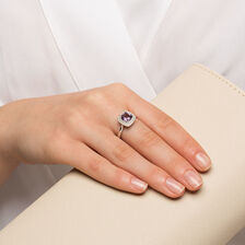 Ring with Amethyst Diamonds in 10kt White Gold