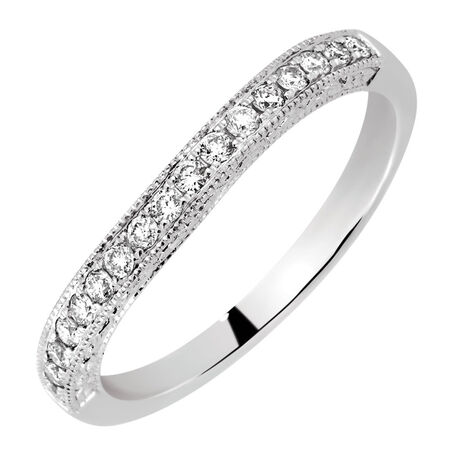 Wedding Band with 0.20 Carat TW of Diamonds in 14kt White Gold