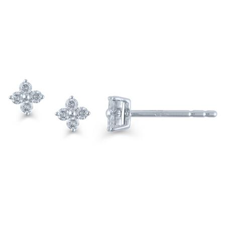 Leaf Earrings in 0.25 Carat TW of Diamonds in 10kt White Gold