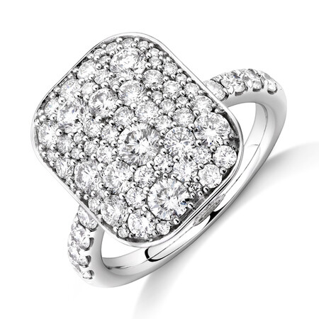 Pave Ring with 2 Carat TW of Diamonds in 14kt White Gold