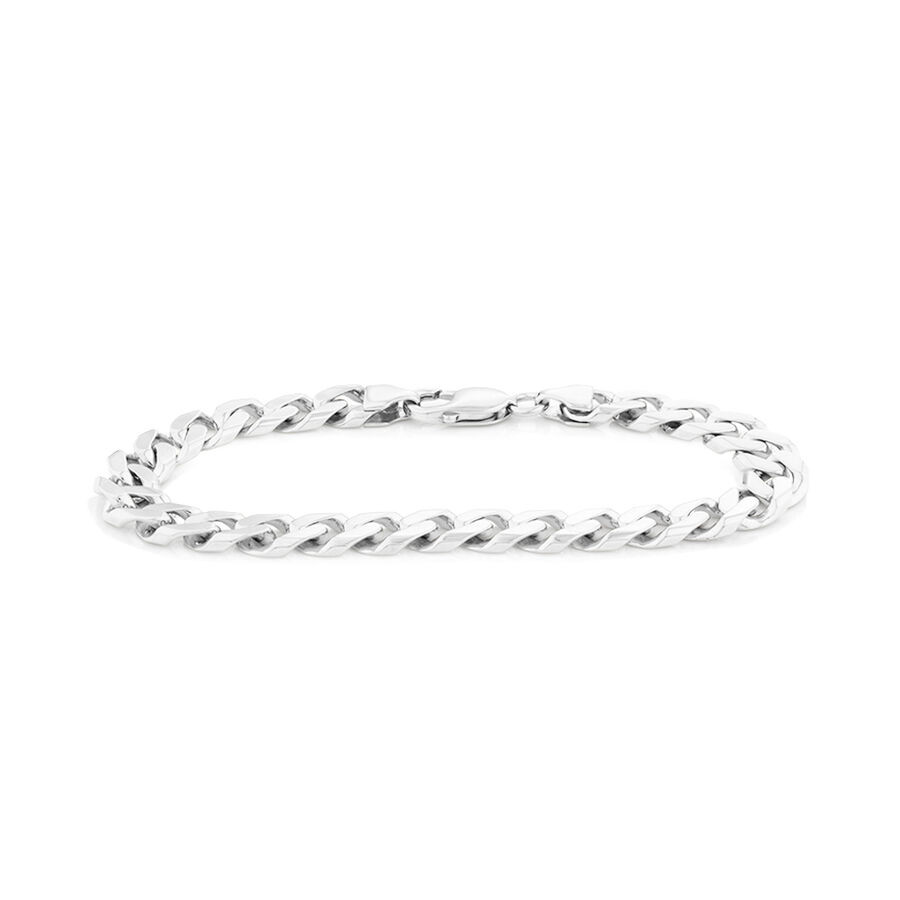 "23cm (9.5"") Men's Curb Bracelet in Sterling Silver"