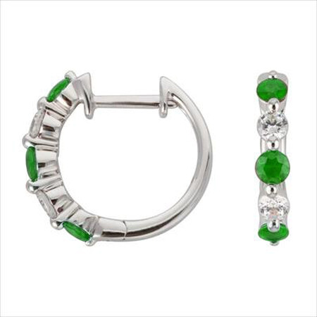 Mini Hoop Earrings with Natural Emerald & 0.19 Carat TW of Diamonds in 10kt White Gold