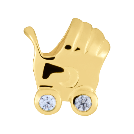 Diamond Set & 10kt Yellow Gold Pram Charm