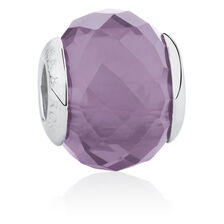 Online Exclusive - Smokey Purple Glass Charm in Sterling Silver
