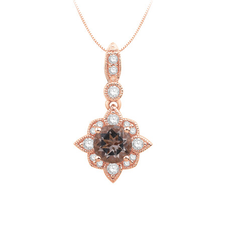 Pendant with Morganite and 0.15 Carat TW of Diamonds in 10kt Rose Gold