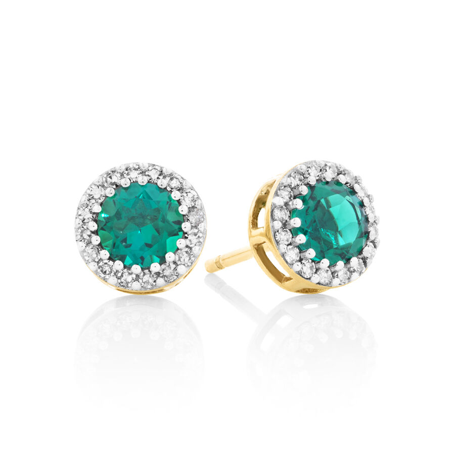 Halo Stud Earrings With Diamonds And Created Emerald In 10kt Yellow Gold