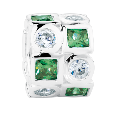 Dark Green & White Cubic Zirconia & Sterling Silver Charm