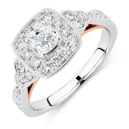 Sir Michael Hill Designer GrandAmoroso Engagement Ring with 0.98 Carat TW of Diamonds in 14kt White & Rose Gold