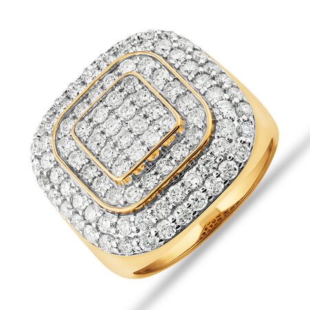 Ring with 3 Carat TW of Diamonds in 10kt Yellow Gold